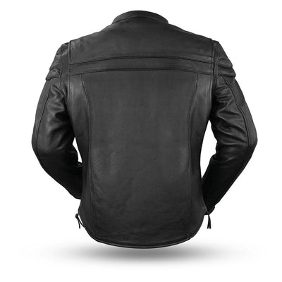 Men's Leather Motorcycle Jacket - First Mfg. The Maverick Black Back