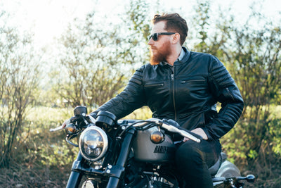 Men's Leather Motorcycle Jacket - First Mfg. Commuter Black