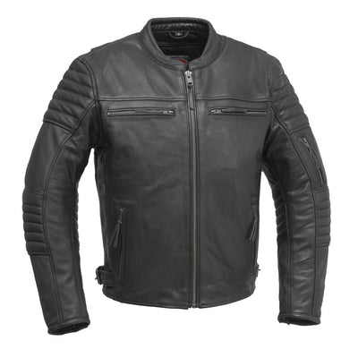 Men's Leather Motorcycle Jacket - First Mfg. Commuter Black Front