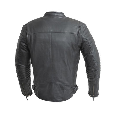 Men's Leather Motorcycle Jacket - First Mfg. Commuter Black Back