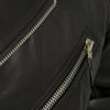 Men's Leather Motorcycle Jacket - First Mfg. Fillmore Black Zipper Pockets