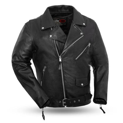 Men's Leather Motorcycle Jacket - First Mfg. Fillmore Black Front
