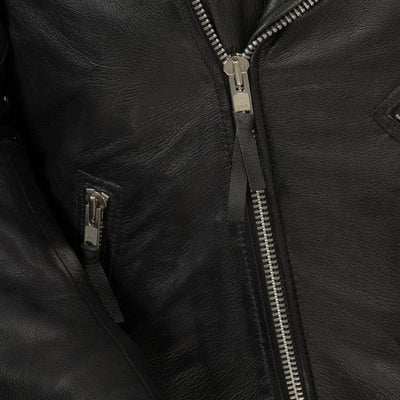 Men's Leather Motorcycle Jacket - First Mfg. Fillmore Black Zipper