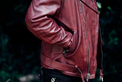 Men's Leather Motorcycle Jacket - First Mfg. Fillmore Oxblood Slash Pockets