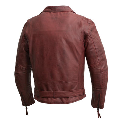 Men's Leather Motorcycle Jacket - First Mfg. Fillmore Oxblood Back