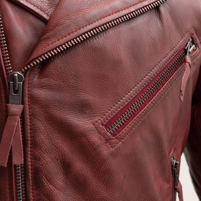 Men's Leather Motorcycle Jacket - First Mfg. Fillmore Oxblood Zipper Pocket