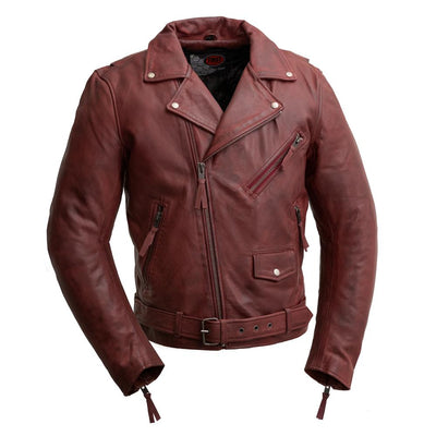 Men's Leather Motorcycle Jacket - First Mfg. Fillmore Oxblood Front
