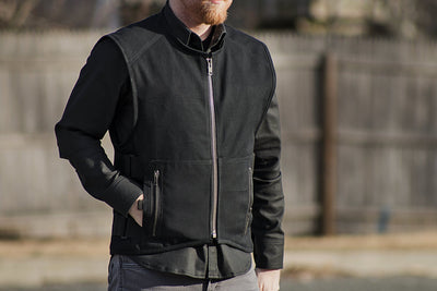 Men's Textile Motorcycle Vest - First Mfg. Knox Black