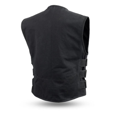 Men's Textile Motorcycle Vest - First Mfg. Knox Black Back