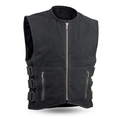 Men's Textile Motorcycle Vest - First Mfg. Knox Black Front