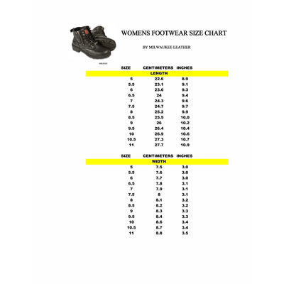 Women's Leather Motorcycle Boots - Milwaukee Leather MBL9321WP Black Size Chart