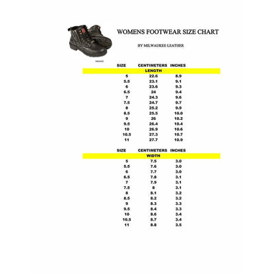 Women's Leather Motorcycle Boots - Milwaukee Leather MBL9320 Black Size Chart