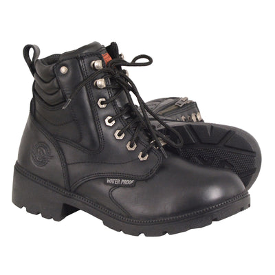 Women's Leather Motorcycle Boots - Milwaukee Leather MBL9321WP Black Pair