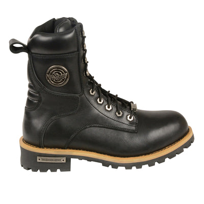 Men's Leather Motorcycle Boots - Milwaukee Leather MBM9095 Black Outer