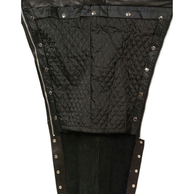 Unisex Leather Motorcycle Chaps - Milwaukee Leather ML1191 Black Liner