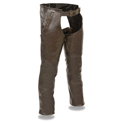 Unisex Leather Motorcycle Chaps - Milwaukee Leather ML1191 Retro Brown