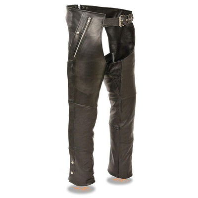 Unisex Leather Motorcycle Chaps - Milwaukee Leather ML1191 Black