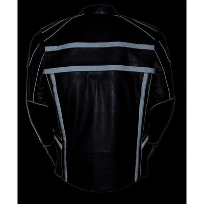 Motorcycle Jacket- Milwaukee ML2083 Reflective Men's Leather Jacket Reflective Back