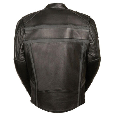 Motorcycle Jacket- Milwaukee ML2083 Reflective Men's Leather Jacket Back