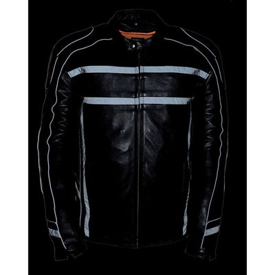 Motorcycle Jacket- Milwaukee ML2083 Reflective Men's Leather Jacket Reflective Front