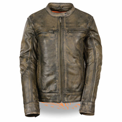 Women's Leather Motorcycle Jacket - Milwaukee Leather MLL2550 Distressed Brown Front