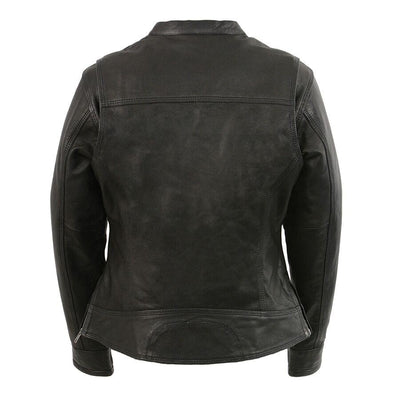 Motorcycle Jacket- Milwaukee MLL2551 Women's Scooter Leather Jacket Back