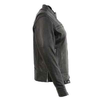 Motorcycle Jacket- Milwaukee MLL2551 Women's Scooter Leather Jacket Side