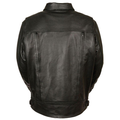 Motorcycle Jacket- Milwaukee MLM1520 Men's Pistol Pete Leather Jacket Back
