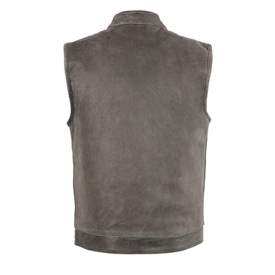 Motorcycle Vest- Milwaukee Distressed Grey Single Panel Vest Back