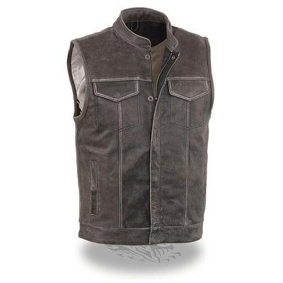 Motorcycle Vest- Milwaukee Distressed Grey Single Panel Vest