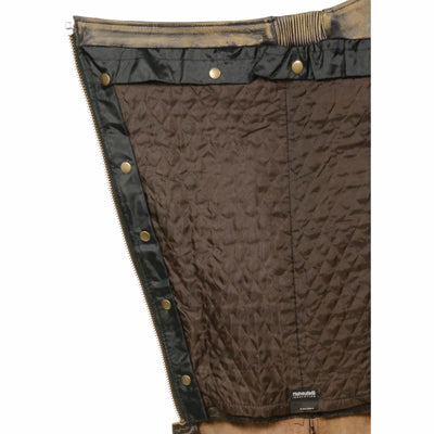 Unisex Leather Motorcycle Chaps - Milwaukee Leather MLM500 Distressed Brown Liner