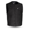 Motorcycle Vest- First Murdock FIM651DM Single Panel MC Black Denim Vest Front