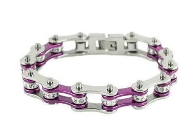 Silver & Purple Motorcycle Chain Bracelet w/Crystals