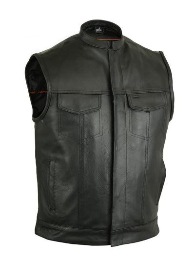 Men's Leather Motorcycle Vest - Renegade Classics RC189A Front