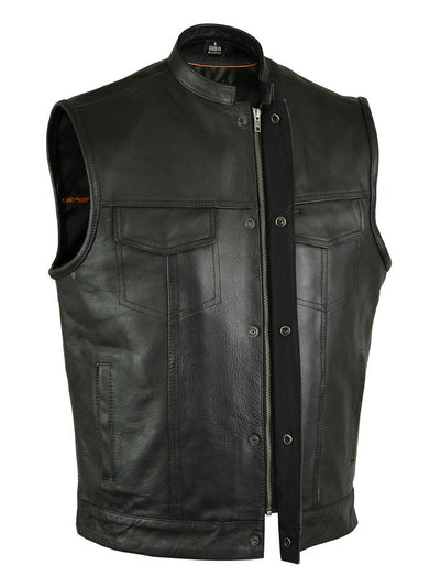 Men's Leather Motorcycle Vest - Renegade Classics RC189A Zipper Snap Combo Front