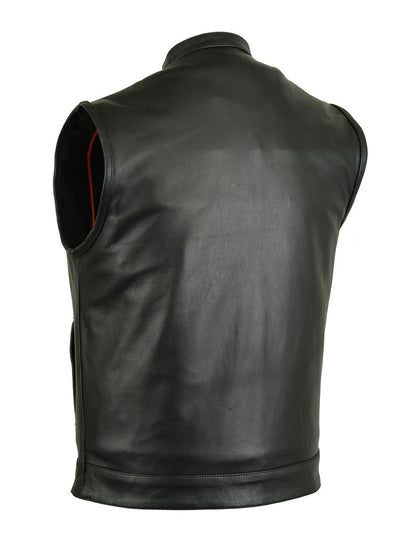 Men's Leather Motorcycle Vest - Renegade Classics RC189A Back