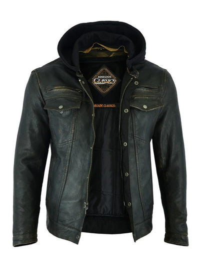 "Renegade Classics ""Piston"" Distressed Lightweight Motorcycle Jacket"