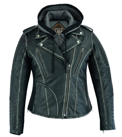 Women's Leather Motorcycle Jacket - Renegade Classics RC877 Front