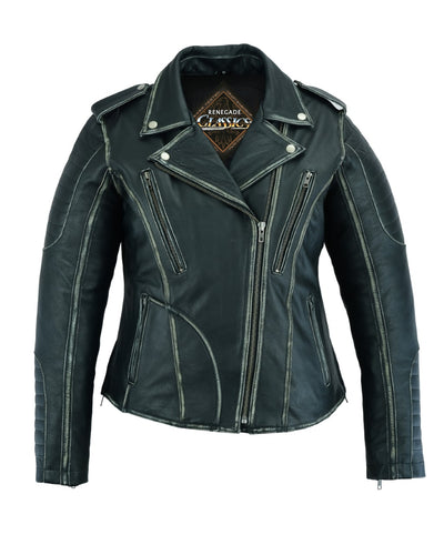 Women's Leather Motorcycle Jacket - Renegade Classics RC877 Front No Hoodie