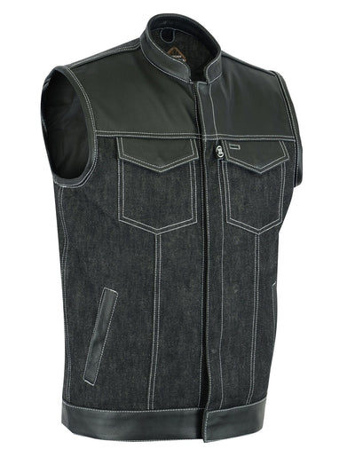 "Renegade Classics ""Burnout"" Men's Combo Leather/Denim Motorcycle Vest"