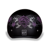 Motorcycle Helmet Half- Daytona Graphic Purple Rose Back
