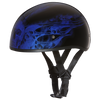 Motorcycle Helmet Half- Daytona Graphic Blue Skull Flames