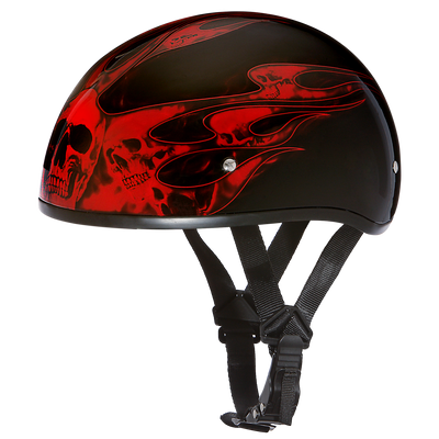 Motorcycle Helmet Half- Daytona Graphic Red Skull Flames