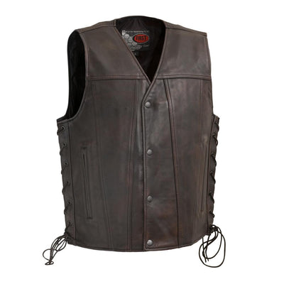 Men's Leather Motorcycle Vest - First Mfg. High Roller Distressed Brown Front