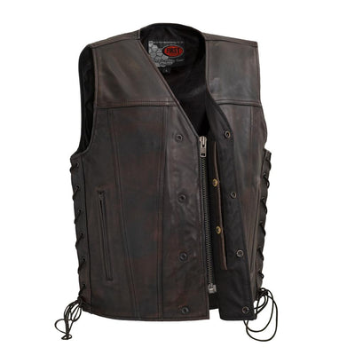 Men's Leather Motorcycle Vest - First Mfg. High Roller Distressed Brown Zipper Snap and CCW Pocket