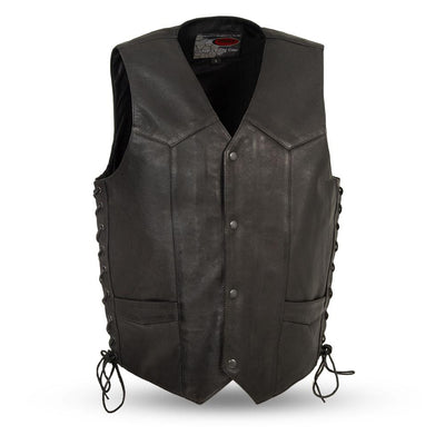 Men's Leather Motorcycle Vest - First Mfg. Rancher Black Front