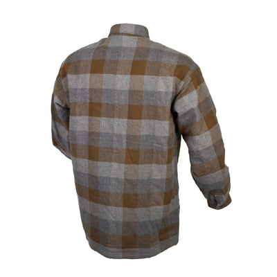 Motorcycle Jacket- Scorpion Exo Covert Flannel Brown & Grey Back