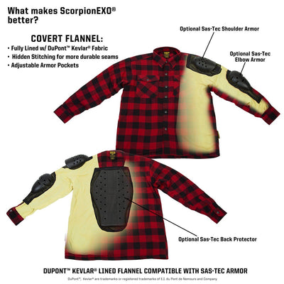 Motorcycle Jacket- Scorpion Exo Covert Flannel Red & Black Kevlar Liner and Armor Pockets