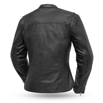 Women's Leather Motorcycle Jacket - First Mfg. Roxy Black Back