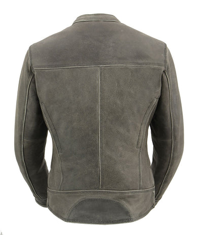 Women's Leather Motorcycle Jacket - Milwaukee Leather MLL2550 Distressed Grey Back